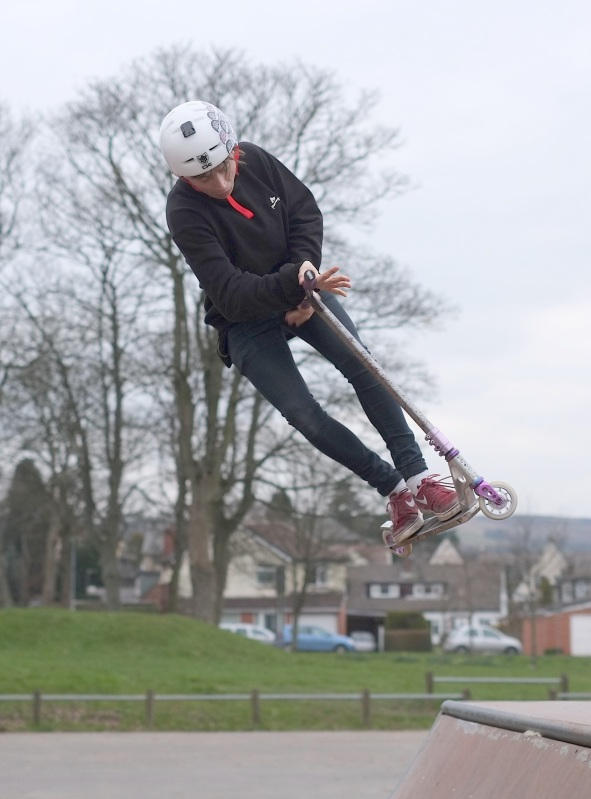 Flying scooter ace Miles 'up in the air' in Menston park
