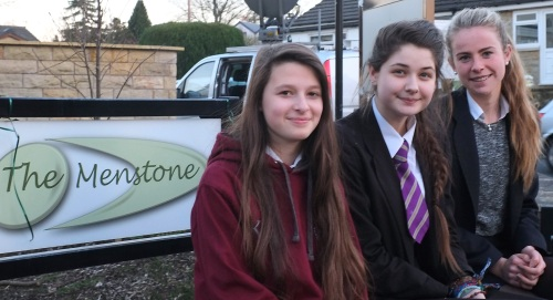 Eggs2iPads project teachers, left to right, Kezia Hollings, Hattie Barnes and Rosie Ogden outside the Menstone club