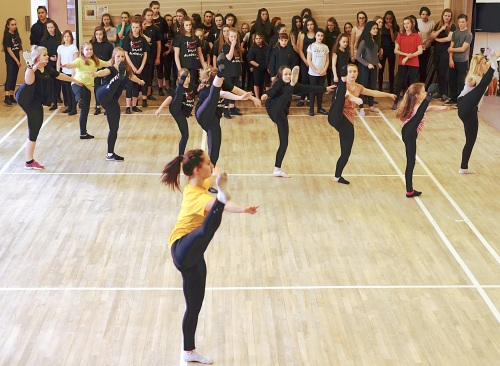 The 60 strong Yorkshire contingent going to Wembley, rehearsing with a dance coach from Proex, which currently holds the Guiness book record for mass dance, in the Kirklands Community Centre on Sunday morning.