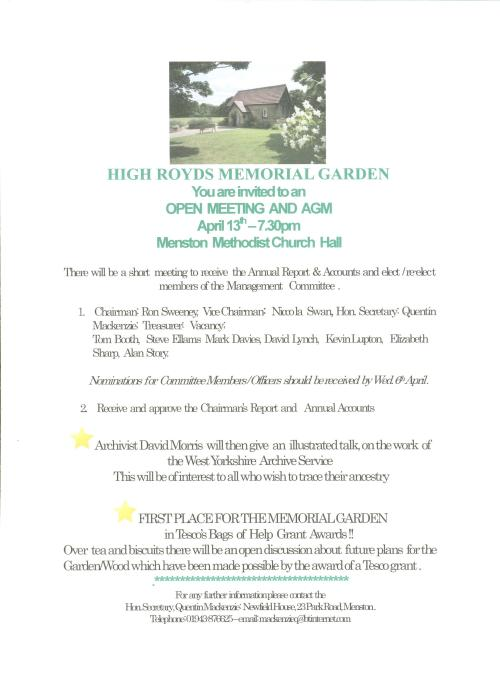 Poster publicising meeting of High Royds Memorial Garden committee