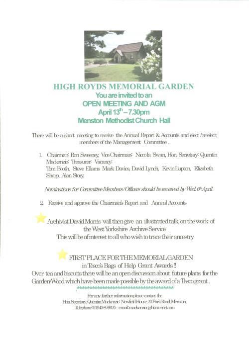 Poster publicising meeting of High Royds Memorial Garden committee