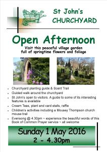 Poster for open afternoon at St John's churchyard