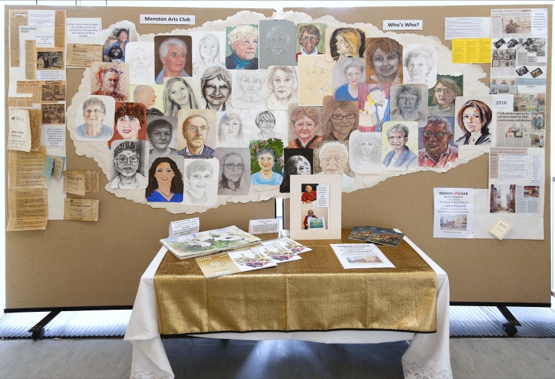 Selfies of Menston Arts Club members which were displayed together with a history of the club and newspaper articles dating from the '60s when the club was founded