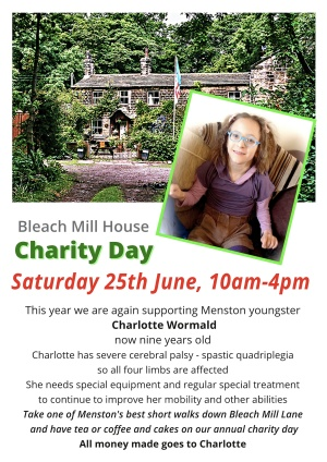 Poster for the charity day at Bleach Mill House with a picture of Charlotte