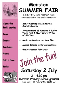 Poster for the Menston Summer Fair on 2 July