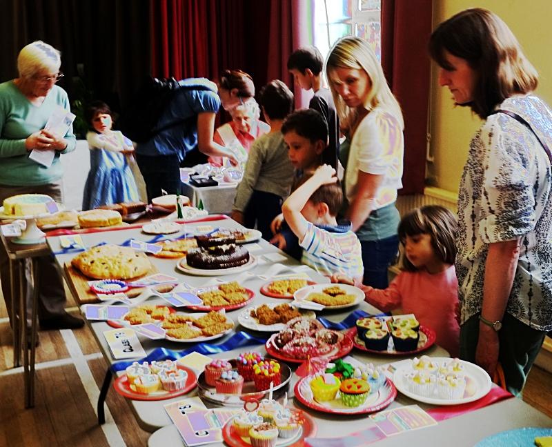 Admiring the junior baking entries