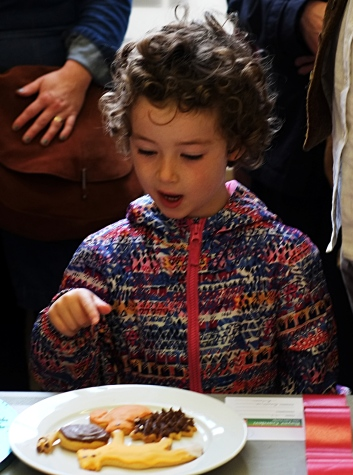 A young girl visitor admiring the junior biscuit entries