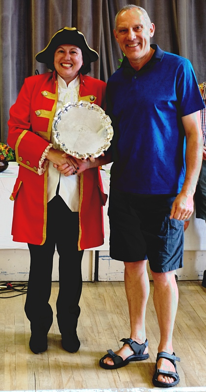 Geoff Lomas with the Wharfedale Fuschia Society Trophy. With town crier