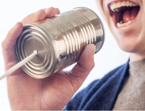 Picture of tin can and string for communication