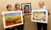 Lindsey Marsden, Marion Gray and Angela Hammond with their paintings